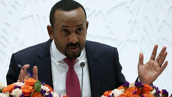 رئيس الوزراء الإثيوبي أبي أحمد يتحدث في مؤتمر صحفي في أديس أبابا يوم 28 مارس آذار 2019