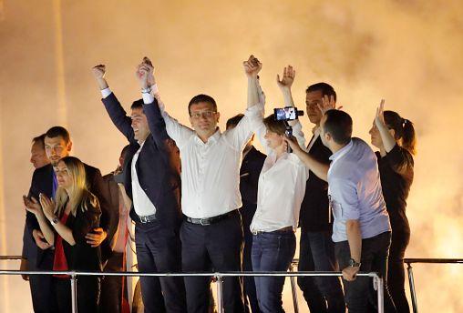 Ekrem Imamoglu, greets supporters at a rally of in Beylikduzu district, in Istanbul