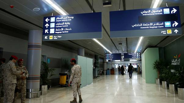 FILE PHOTO: Saudi security officers are seen at Saudi Arabia's Abha airport