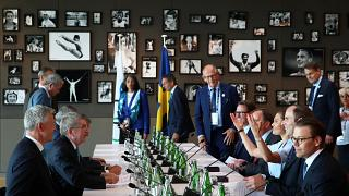 IOC President Thomas Bach attends a meeting with the Stockholm Are 2026 bid delegation including Sweden Prime Minister Stefan Lofven