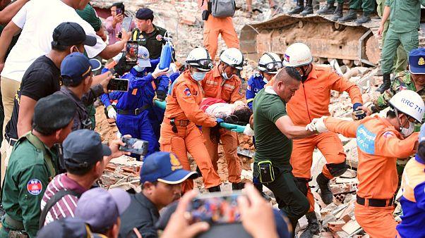 Elevan a 25 los fallecidos en el derrumbe de un edificio en Camboya