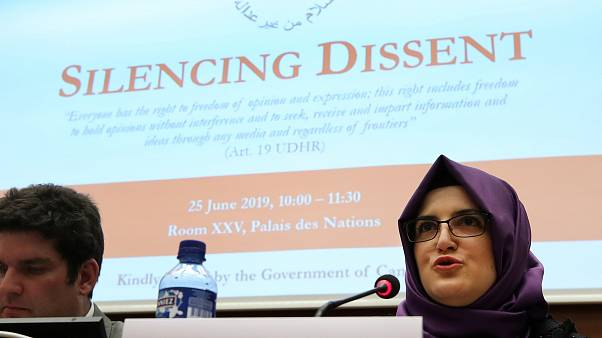 "Hatice Cengiz at the ""Silencing Dissident"" event during the Human Rights Council at the UN in Geneva, Switzerland, June 25, 2019."