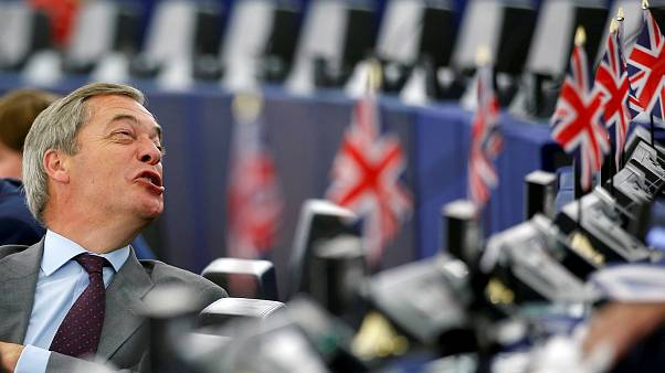 Brexit Party leader Nigel Farage attends a debate on the last European summit, at the European Parliament in Strasbourg, France, July 4, 2019.