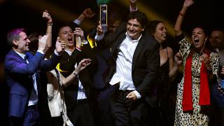 Chef-owner of Mirazur restaurant Mauro Colagreco and his team react after receiving the award for Best Restaurant during the World's 50 Best Restaurants Awards