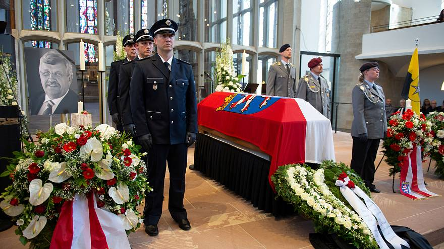 An honour guard made of Police and Federal Armed Force officers stands next to the coffin of the Kassel District President, Walter Luebcke, who was shot, during his funeral