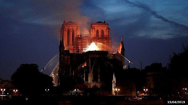 La cathédrale Notre-Dame de Paris en flammes le 15 avril 2019