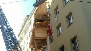 Вид пострадавшего здания на улице Прессгассе в Вене