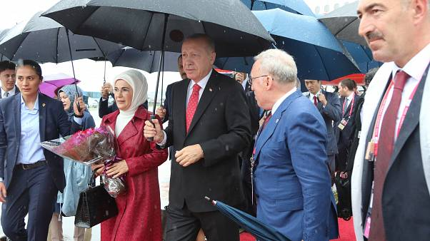 Il Presidente turco Recep Tayyp Erdogan con la moglie Emine.
