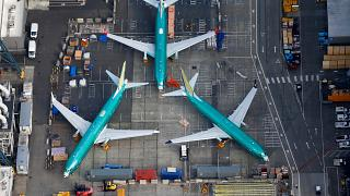 Boeing 737 MAX airplanes parked on the tarmac at the Boeing Factory in Washington