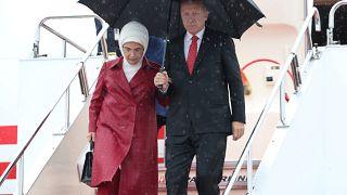 Cumhurbaşkanı Recep Tayyip Erdoğan ve eşi Emine Erdoğan Osaka'da