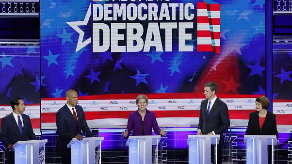 Senator Warren speaks at the first U.S. 2020 presidential election Democratic candidates debate in Miami