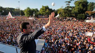 Watch: Crowds see new Istanbul mayor Ekrem Imamoglu take office