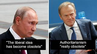 Ideology debate: Putin says 'liberalism obsolete', Tusk says 'authoritarianism obsolete'