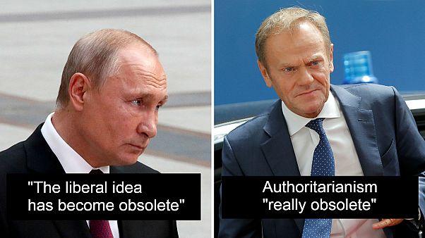 Ideology debate: Putin says 'liberalism obsolete', Tusk says 'authoritarianism obsolete'