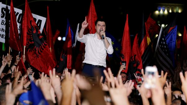 Lider of the Democratic Party Lulzim Basha attends an anti-government protest in front of Prime Minister Edi Rama's office in Tirana, Albania, June 21, 2019
