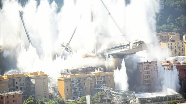 Watch: Italy's Genoa bridge destroyed in six second controlled explosion