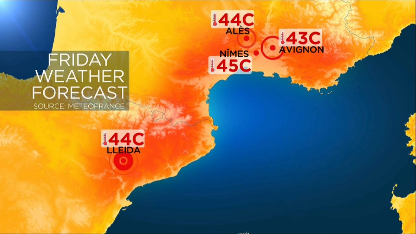 Weather Map South Of France.Heatwave Red Alert In France As 45c Expected In The South