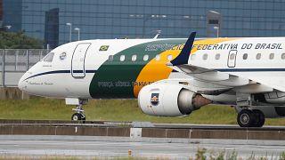 Brazil's President Jair Bolsonaro plane is seen at Osaka airport ahead of G20 leaders summit in Osaka, Japan June 27, 2019