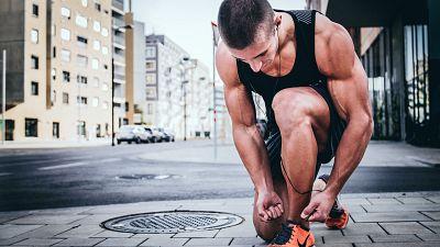 Athlete training on a run