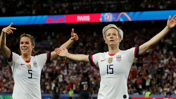 Megan Rapinoe esteve em destaque no triunfo sobre a França e soma 5 golos no Mundial