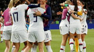 Football - Women's World Cup 2019 - Quarter Final - United States players celebrate after the match against France