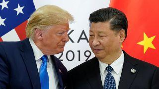 الرئيسان الأميركي والصيني خلال اجتماعهما في قمة العشرين بمدينة اوساكا في اليابان. حزيران/2019