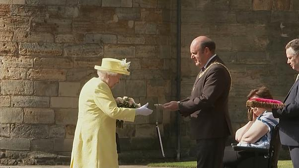 Britain's Queen Elizabeth II receives the keys to the city of Edinburgh