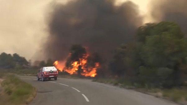Лесные пожары в Испании и Франции