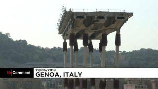 شاهد: بقايا جسر جنوة بعد تفجيره وانطلاق اشغال بناء الجسر الجديد