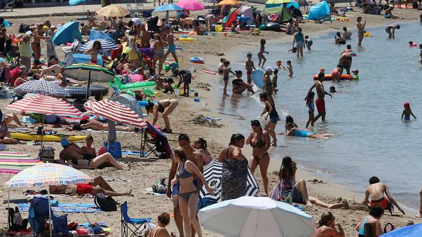 People cool off in the sea in Marseille as a heatwave hits much of the country, France, June 28, 2019.