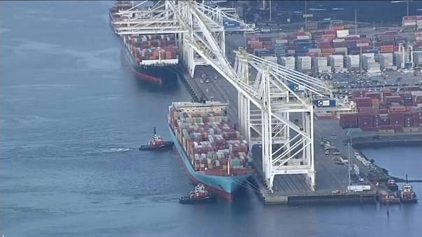 Aerial of Anna Maersk docked at port south of Vancouver