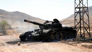 FILE PHOTO: A destroyed and burnt tank, that belongs to the eastern forces led by Khalifa Haftar, is seen in Gharyan south of Tripoli Libya June 27, 2019.