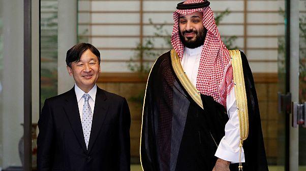 بالصور: أمبراطور اليابان يستقبل ولي العهد السعودي