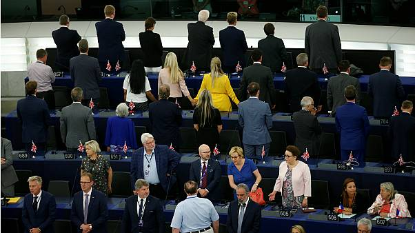 Brexit Party MEPs turn their backs as EU anthem is played