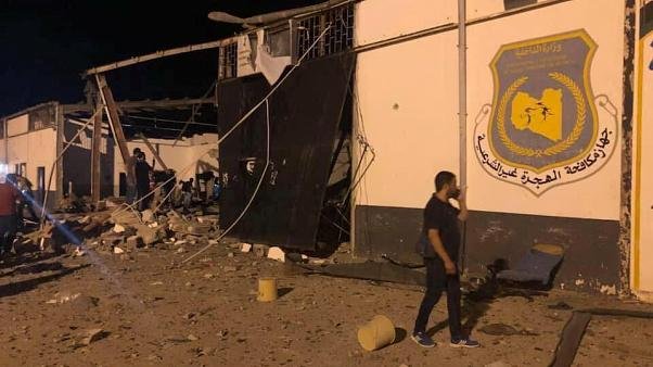 Dozens killed in Libya after air strike hits migrant centre outside of Tripoli