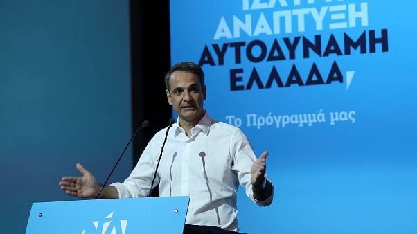 Leader of Greece's main opposition New Democracy conservative party Kyriakos Mitsotakis speaks during the presentation of his pre-election program in Athens, Greece June 21, 2