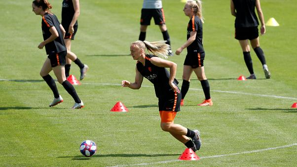 The Dutch national team training on July 2, 2019, ahead of their semi-final against Sweden.