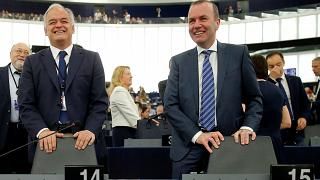"Manfred Weber, candidato ""spitzekandidat"" del EPP y el eurodiputado popular, Esteban González Pons"