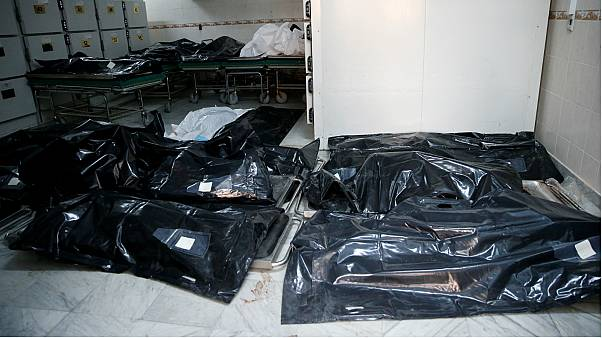 Body bags of victims from the Tajoura migrant centre strike