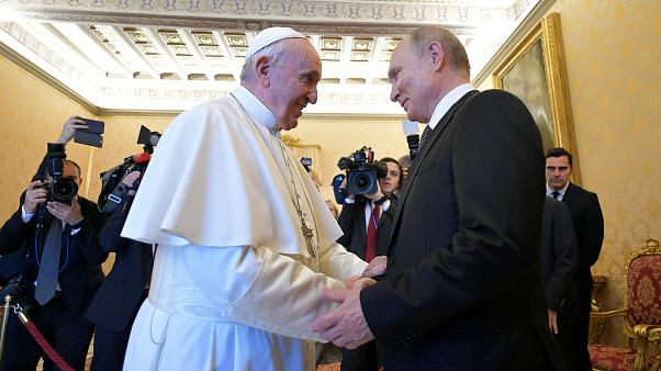 Russian President Vladimir Putin meets with Pope Francis at the Vatican July 4, 2019
