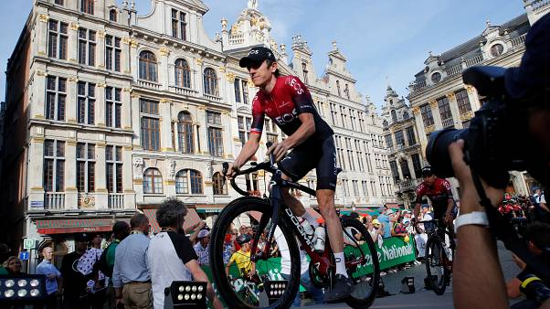 Team INEOS rider Geraint Thomas of Britain during the Tour de France teams presentation in Brussels on July 4, 2019.