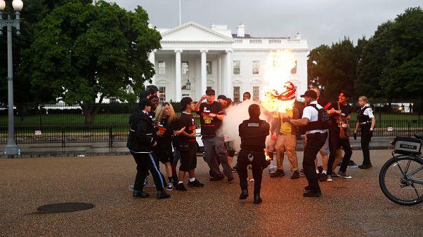 شاهد: محتجون يحرقون العلم الأمريكي أمام البيت الأبيض