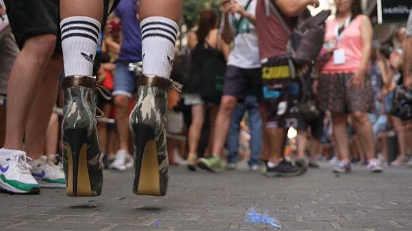 Watch: Spain struts in the annual high heels race