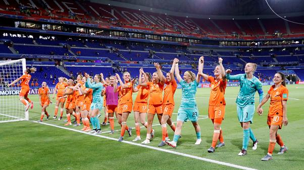 July 3, 2019 Players of the Netherlands celebrate winning the match