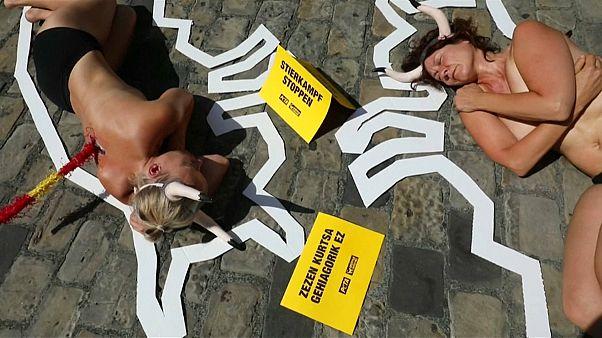 Watch: Dozens protest ahead of San Fermin bull run in Pamplona