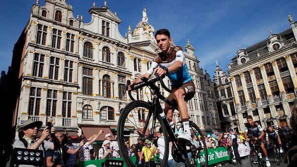 Le Français Romain Bardet, lors de la présentation de son équipe AG2r La Mondiale, à Bruxelles le 4 juillet 2019
