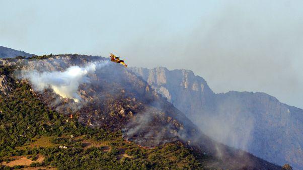 Πυροσβεστικό αεροπλάνο επιχειρεί για την κατάσβεση της πυρκαγιάς στην Εύβοια.
