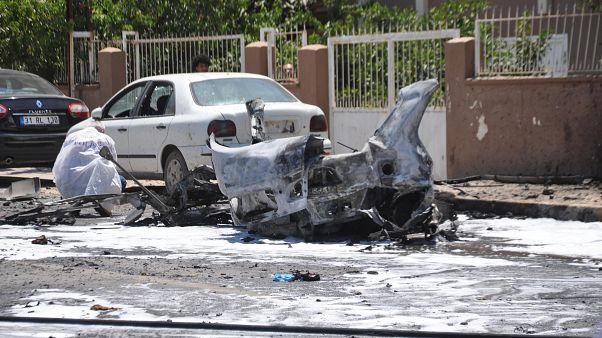 Explosión en Reyhanli, ciudad turca en la provincia de Hatay cerca de la frontera con Siria, Turquía, 5 de julio de 2019.