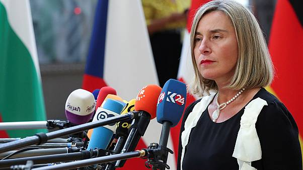 Foreign Affairs and Security Policy High Representative Federica Mogherini in Brussels