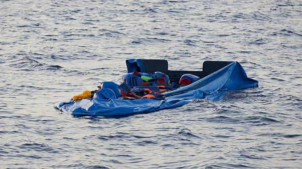 A blue inflatable boat that was carrying 65 people, is seen in this picture obtained from social media on July 5, 2019.